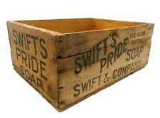 EARLY 20TH C VINT SWIFT'S PRIDE SOAP SWIFT & CO LG INK STAMPED WOODEN BOX CRATE