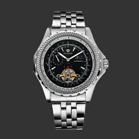 Mens Mechanical Watch Silver Stainless Steel Black Round Automatic Moon Phase