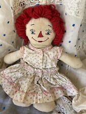 "13"" Vintage 1930s Raggedy Ann Doll Awake Asleep Georgene? Two Face Pink Dress"