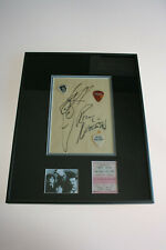 Cheap Trick Hand signed Rick Nelson Paper with Drawing Framed Ticket Picks Rare