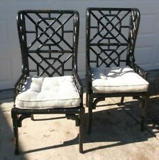 Pair Guild Master Black Painted Bamboo Wing Back Arm Chairs w/Cane Seats