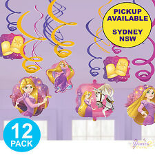 PRINCESS RAPUNZEL PARTY SUPPLIES 12 SWIRL TANGLED BIRTHDAY HANGING DECORATIONS