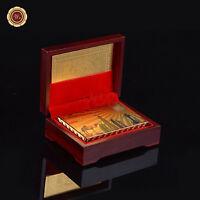 999 Gold Foil Plated Poker Playing Cards Dubai Tourist Gift /w Wood Box & COA