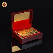 999 Gold Foil Plated Poker Playing Cards Dubai Tourist Gift /w Wood Box & COA