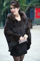 New 100% Real Genuine Knit Mink Fur Poncho Cape Shawl Scarf Coat Womens Brown