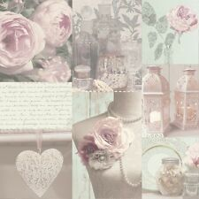 WOW! Shabby Chic Charlotte Blush Heart Love Feature Wallpaper