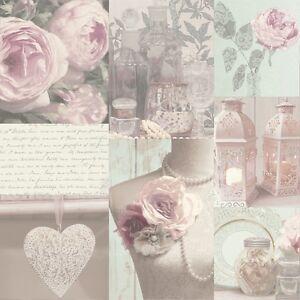 WOW! Shabby Chic Charlotte Blush Heart Love Feature Wallpaper
