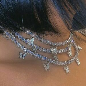Luxury Silver Color Butterfly Rhinestone Choker Necklace Clavicle Women Jewelry