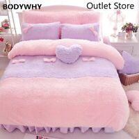 Luxury Plush Shaggy Comforter Quilt Cover Pillow Shams Duvet Cover Bedding Set