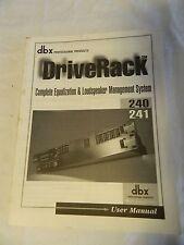 DBX Driverack 240 241 User Manual