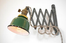 Industrial Scissor Wall Lamp Antiqued with Patina & Green Porcelain Enamel Shade