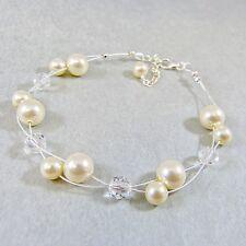 Flottant De mariage Bracelet éléments cristal Swarovski Perles et Ivoire perles