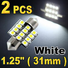 2x 31mm 12SMD festoon Map Dome Super Bright White LED Lights Bulbs DE3157 DE3022