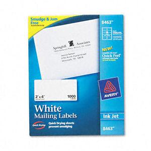 """Avery 8463 TrueBlock Shipping Label - 2"""" X 4"""" INKJET 100 sheets/1000 Labels"""