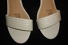 LADIES SHOES-8-WHITE OPEN TOE CLOSED BACK  PLATFORMS-ADJUSTABLE STRAP AS NEW