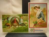 2 Vtg 1911 Thanksgiving Postcards Turkeys Made in Germany Harvest John Winsch