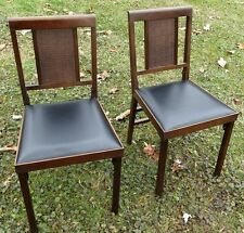 Pair Vintage Mid Century Leg O Matic Folding Chair Cane Back Airstream