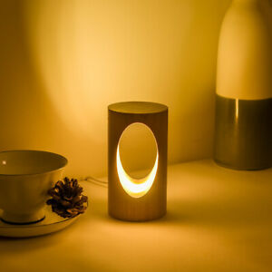 Wooden LED night light table lamp warm bedroom decoration dimmable