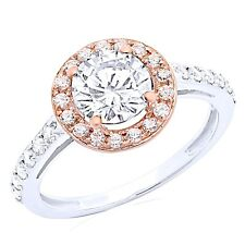2.4 Ct Round Cut Halo Engagement Wedding Promise Ring Solid 14K White Rose Gold
