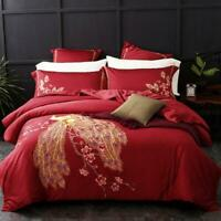 3D Red Peacock Peach Blossom KEP344 Bed Pillowcases Quilt Duvet Cover Kay