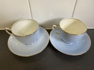 A Pair of Vintage Adderley 1920s Blue with Gold Rim Pretty Teacup & Saucer