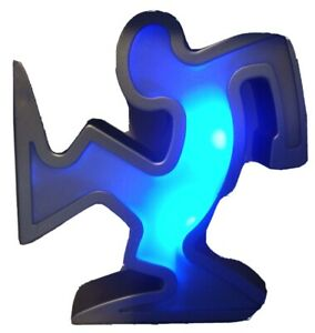 """Color-Changing Dancing Man 8"""" Statue / Bookend Keith Haring / Graffiti Art Style"""