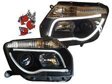 SCHEINWERFER DACIA DUSTER 2010+ SCHWARZ LIGHTBAR TAGFAHRLICHT-OPTIK LINKS RECHTS