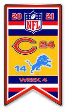 2021 Semaine 4 Bannière Broche NFL Chicago Bears Vs.Detriot Lions Super Bol Lié