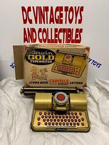 Vintage Berwin Gold TYPEWRITER Schreibmaschine Toy Index