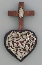 Mexican Carved Wood Heart Wall Hanging Folk Art Handmade Milagros Heart # 16