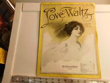 """Love Waltz"" vintage sheet music by Jerome Heller 1911"