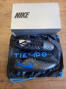 NIKE TIEMPO LEGEND 8 ELITE FG FOOTBALL BOOTS - BLACK/BLUE -SIZE UK 8 (Brand new)