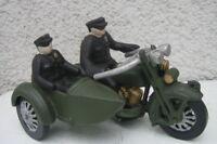 Motorrad mit Beiwagen Polizeimotorrad aus Gusseisen im Antik Stil Makel 21x13x12