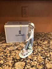 "Lladro 6021 "" Saturday's Child "" Boy Dog Wagon Porcelain Figurine"