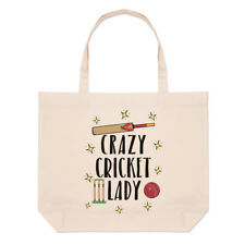 Crazy Cricket Lady Large Beach Tote Bag - Funny Shopper Shoulder