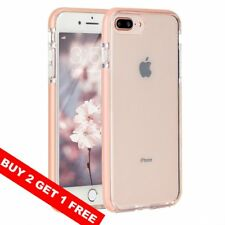For iPhone 8Plus 7Plus Case Slim Fit Clear Silicone Pink Bumper Shockproof Cover