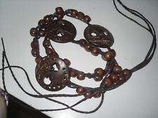 ceinture déco femme taille 34 36 38 40 cuir perle de bois et coco leather belt