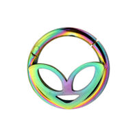 Alien Face Hinged Segment Ring