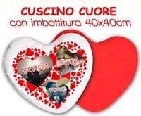 CUSCINO CUORE RETRO ROSSO cm40X40 Personalizzato con 3 FOTO a scelta IMBOTTITURA