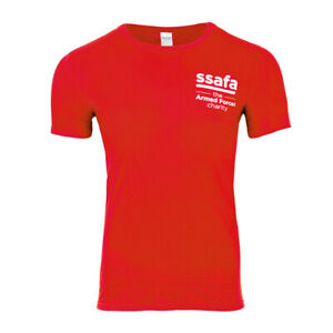 Crew Neck Short Sleeve Gildan Plain Red T-Shirt with SSAFA Logo Cotton S-XXL