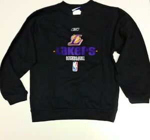 Kids Youth Boys Reebok LA Lakers Black NBA Basketball Pullover Sweatshirt