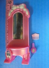"""Barbie Dollhouse Kelly Sized Vanity Mirror Pink 1998 Mattel Comb Hand 6"""" 3 Toy"""