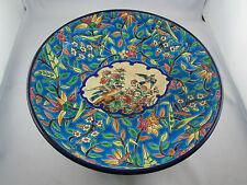 ancienne coupe faience longwy emaux modele caprice decor floral et oiseaux