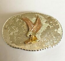 Vintage 925 Sterling Silver & 10K Gold / American Eagle Belt Buckle - Heavy 2 Oz