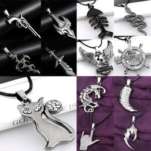 Men Women Leather Necklace Weapon Bullet Pistol Dragon Eagle Pendant Jewelry Hot
