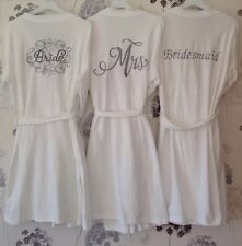 Set Of 5 Wedding Embroidered Dressing Gowns Robe Personalise Bride Bridesmaid