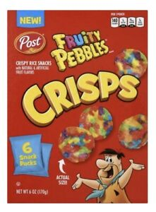 Post Fruity Pebbles Crisps-Portable Cereal Snack-Net WT 6 OZ- (4 boxes)