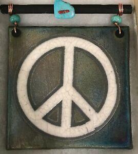 Peace Symbol Raku Medium Tile - handmade & handsigned ON SALE