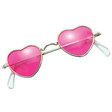 Pink Heart Shaped 60s Fancy Dress Hippie Costume Glasses Specs Shades Sunglasses