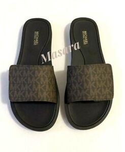 Women MK Michael Kors Wade MK Logo Slide Sandals Mini MK Logo Brown